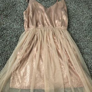 sparkly rose gold dress